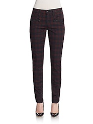 Dkny Plaid Skinny Jeans Navy Red
