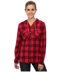 Columbia Times Two Hooded Long Sleeve Shirt Ruby Red Buffalo Plaid Women's Long Sleeve Button Up