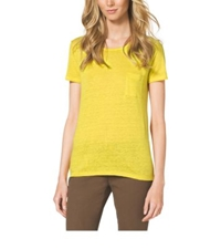 Michael Kors Linen Blend T Shirt Acid Yellow