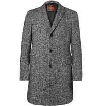 Tod's Tod' Lim Fit Herringbone Virgin Wool Blend Coat Gray