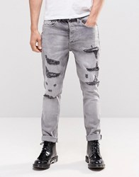 Religion Gore Ripped Jeans In Grey Grey