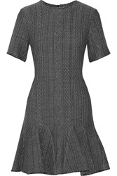 Sea Frayed Cable Knit Mini Dress Gray