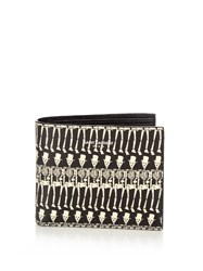 Saint Laurent Skeleton Print Leather Bi Fold Wallet Black Multi