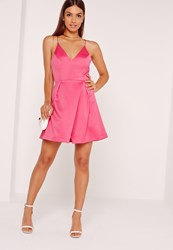 Missguided Strappy Wrap Over Skater Dress Pink Pink