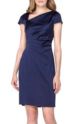 Tahari Women's Ruched Satin Sheath Dress
