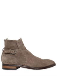 Officine Creative Suede Ankle Boots With Buckle