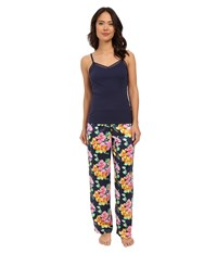 Lauren Ralph Lauren Knit Cami Long Pants Pajama Set Floral Navy Multi Women's Pajama Sets