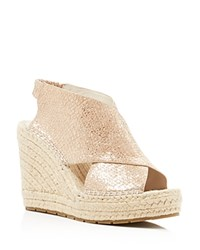 Kenneth Cole Ona Metallic Embossed Wedge Espadrille Sandals Rose Gold