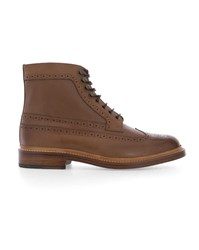 Grenson Brown Lugged Sole Grained Leather Laced Boots