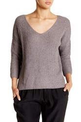 Acrobat Cropped Tape Yarn Pullover Sweater Gray