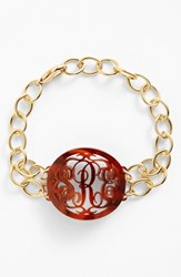 Women's Moon And Lola 'Annabel' Medium Oval Personalized Monogram Bracelet Tortoise Gold Nordstrom Exclusive