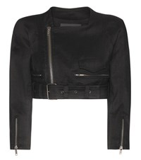 Haider Ackermann Cropped Linen And Wool Blend Jacket Black
