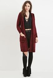 Forever 21 Marled Hooded Cardigan Burgundy Black