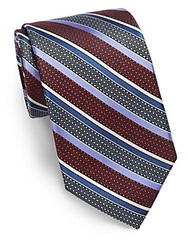 Saks Fifth Avenue Black Striped Patterned Silk Tie Red