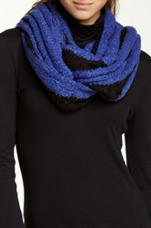 Paula Bianco Striped Infinity Scarf Black