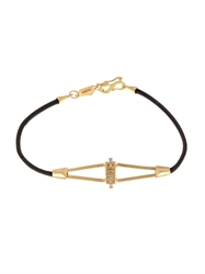 Monique Pean Diamond Yellow Gold And Leather Bracelet