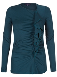 Hotsquash Thinheat Top With Frill Detail Teal