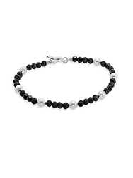 Majorica 5Mm White Round Pearl And Black Austrian Crystal Bracelet Black White