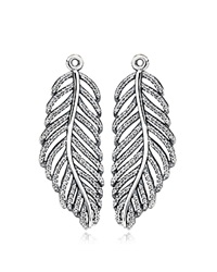 Pandora Design Pandora Earring Charms Sterling Silver And Cubic Zirconia Light As A Feather Silver Clear