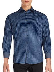 Ben Sherman Geo Chain Link Button Down Shirt Classic Navy