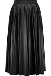 Lanvin Pleated Faux Leather Skirt Black