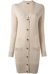 Jil Sander Navy Button Down Long Cardi Coat Nude And Neutrals