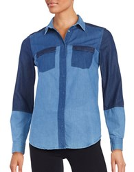 French Connection Colorblocked Denim Long Sleeve Shirt Blue