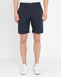 M.Studio Navy Martin Fitted Cotton Thin Stripes Shorts