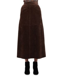 Saint Laurent Suede A Line Midi Skirt Brown