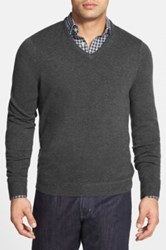 John W. Nordstrom Cashmere V Neck Sweater Regular And Tall Gray