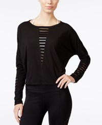 Betsey Johnson Strappy Long Sleeve Top Black