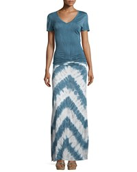 Young Fabulous And Broke Young Fabulous And Broke Bently Ruched Tie Dye Maxi Dress Cobalt Chevron Stripe