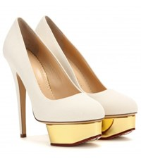 Charlotte Olympia Dolly Canvas Platform Pumps Neutrals