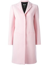 Msgm Single Breasted Coat Pink And Purple