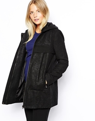 See U Soon Textured Parka Coat Black