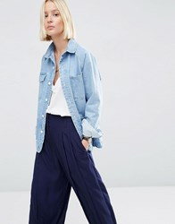 Asos White Carpenter Denim Jacket Blue