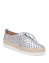 Lucky Brand Tikko Leather Perforated Sneakers Silver