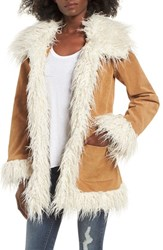 Sun And Shadow Women's Suede Jacket With Faux Shearling Trim