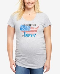 Motherhood Maternity Plus Size Ruched Graphic Tee Grey Made In America
