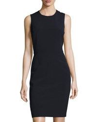 Neiman Marcus Odette Sleeveless Ponte Sheath Dress Navy