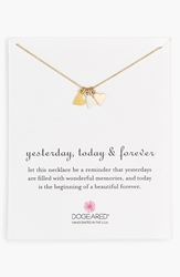 Dogeared 'Yesterday Today Forever' Boxed Charm Necklace Gold Silver Rose Gold