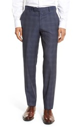 Boss Men's 'Leenon' Flat Front Plaid Wool Trousers Navy