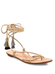 Loeffler Randall Bo Braided Leather Ankle Wrap Sandals Nude Black