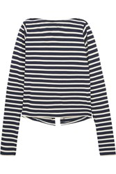 Jacquemus La Mariniere Open Back Split Sleeve Striped Cotton Jersey Top Navy