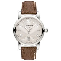 Montblanc 108762 Women's Star Date Alligator Strap Watch Brown Silver