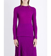 Victoria Beckham Long Sleeved Silk Seersucker Top Plum