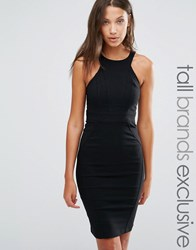 Y.A.S Tall Lua Racer Front Detail Bodycon Dress Black