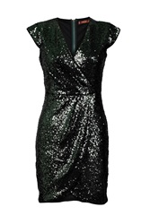 Jolie Moi Wrap Front Sequin Dress Green