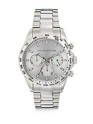 Saks Fifth Avenue Stainless Steel Chronograph Sunray Dial Watch Silver