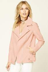 Forever 21 Faux Leather Moto Jacket Pink